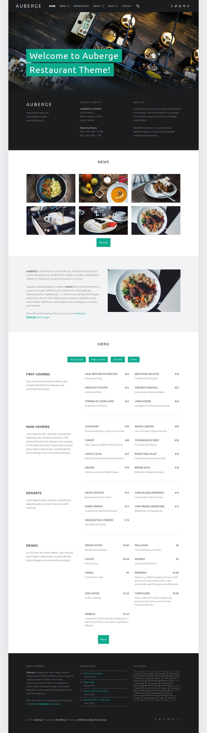 Screenshot of Bento, Free WordPress Theme For Cafe and Restaurant