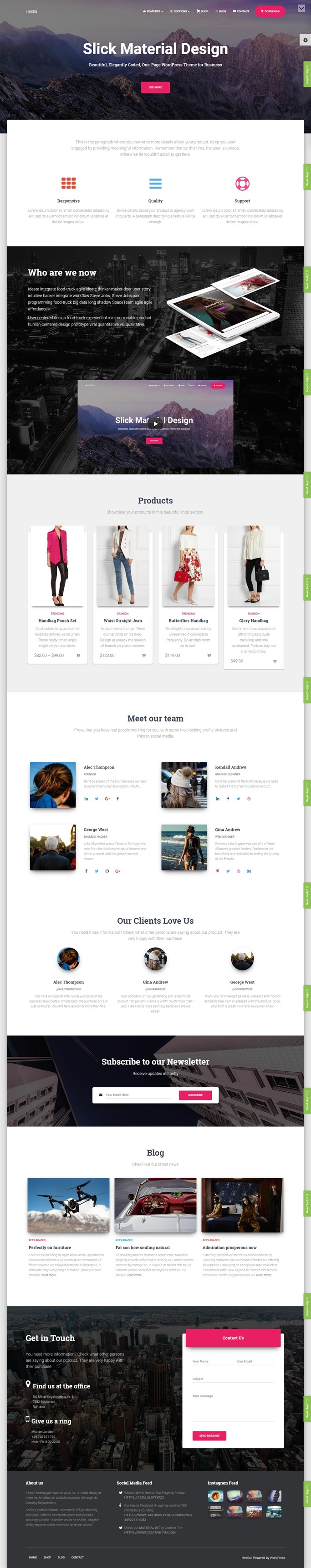 Screenshot of Hestia, Free WordPress Theme