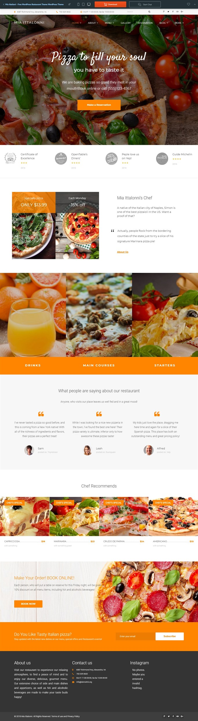 Screenshot of Mia, Free WordPress Theme for Restaurants