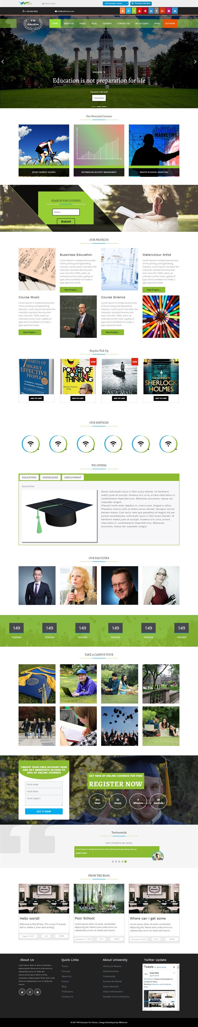 Screenshot of VW Education, Free WordPress Theme