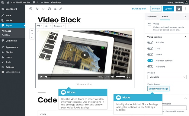 Video embed block